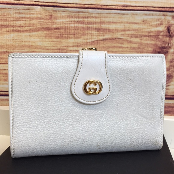 Gucci Handbags - Authentic Vintage Gucci White Gold Logo Wallet